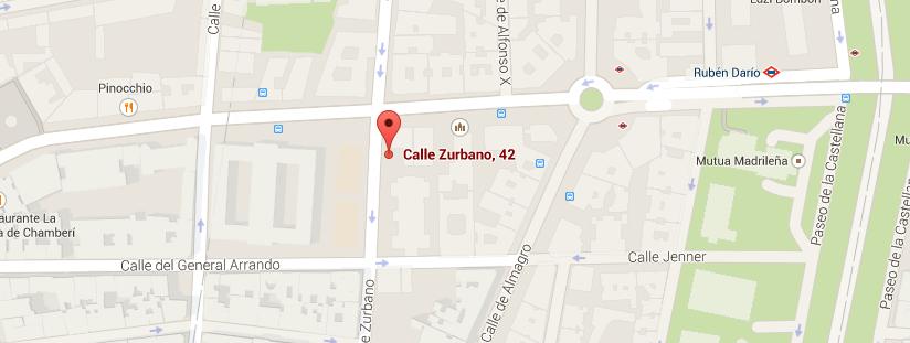 Imagen de google maps de la localización, calle Zurbano, 42