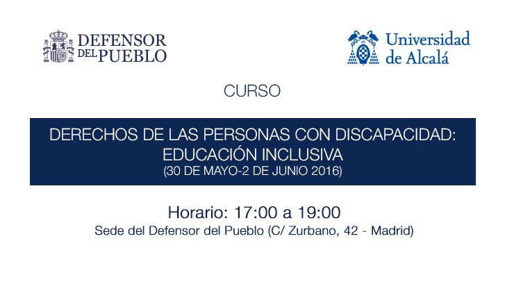 Curso de educación inclusiva. 30 de mayo al 2 de junio de 17:00 a 19:00