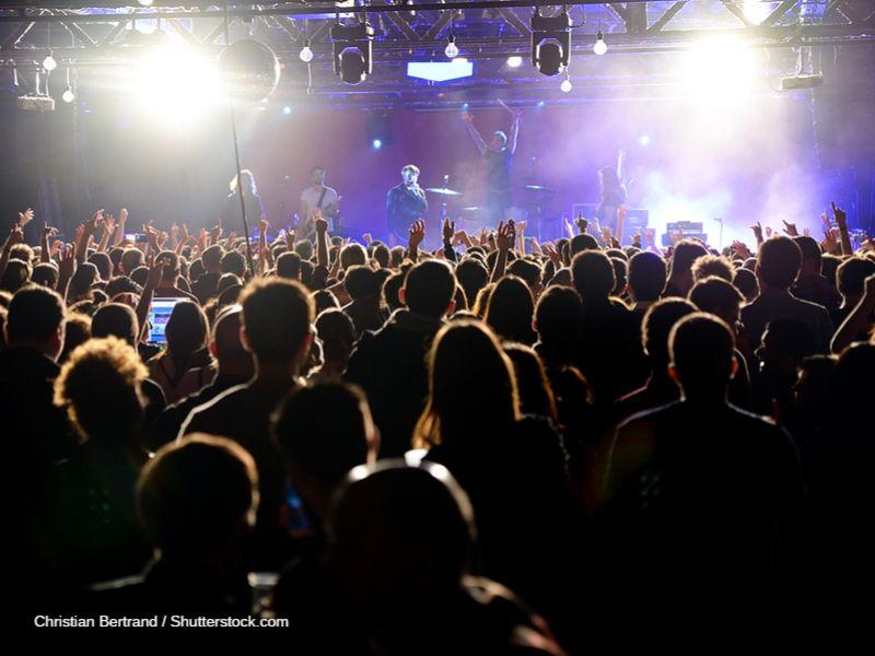 Público animado jalea una banda sobre un escenario