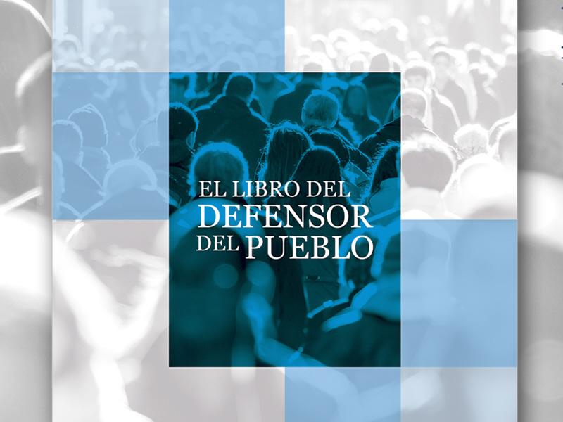 portada del libro del Defensor del Pueblo con fondo de gente caminando