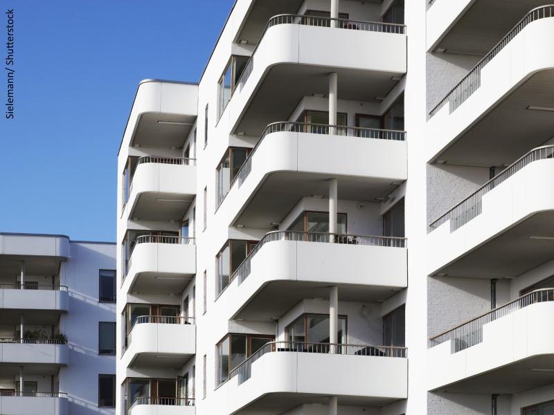 Bloques de viviendas y terrazas