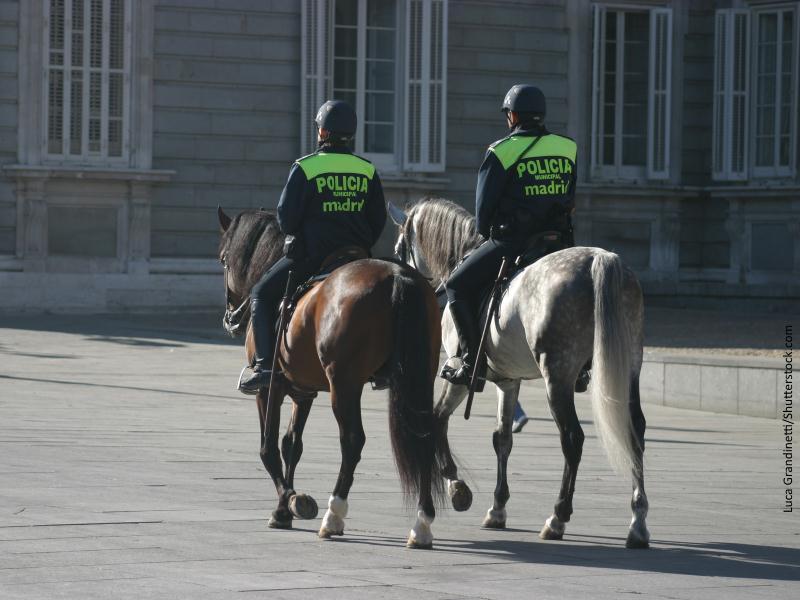 Dos policías madrileños a caballo vigilando edificio oficial