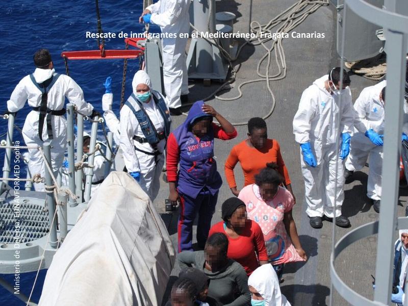 Rescate de Inmigrantes en el Mediterráneo, Fragata Canarias
