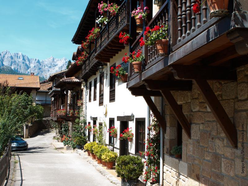 Casas con flores de pueblo del norte de España