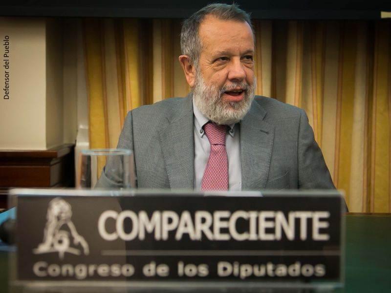 El Defensor del Pueblo (e.f.), Francisco Fernández Marugán, compareciendo en el Congreso de los Diputados