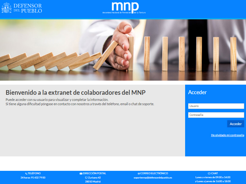 Pantallazo de la Extranet de colaboradores del Mecanismo Nacional de Pevención (MNP)