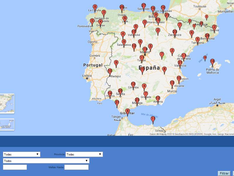 Mapa de visitas del Mecanismo Nacional de Prevención (MNP)
