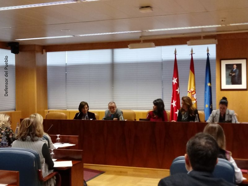 Comparecencia del Defensor del Pueblo (e.f.), Francisco Fernández Marugán, acompañado de la Adjunta Segunda, Concepció Ferrer i Casals en la Asamblea de Madrid