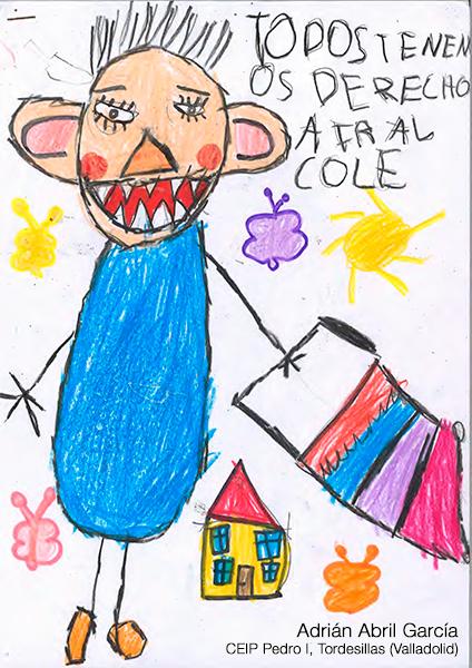 Dibujo de un niño con libro en la mano bajo el lema: Todos tienen derecho a ir al cole. Autor: Adrián Abril. CEIP Pedro I, Tordesillas (Valladolid)
