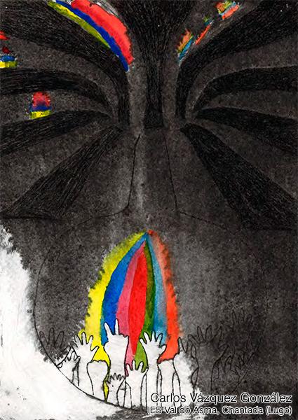 Dibujo participante en la VI Edición del Concurso escolar de dibujo con tintes expresionistas. Autor: Carlos Vázquez González del IES do Asma, Chantada (Lugo)
