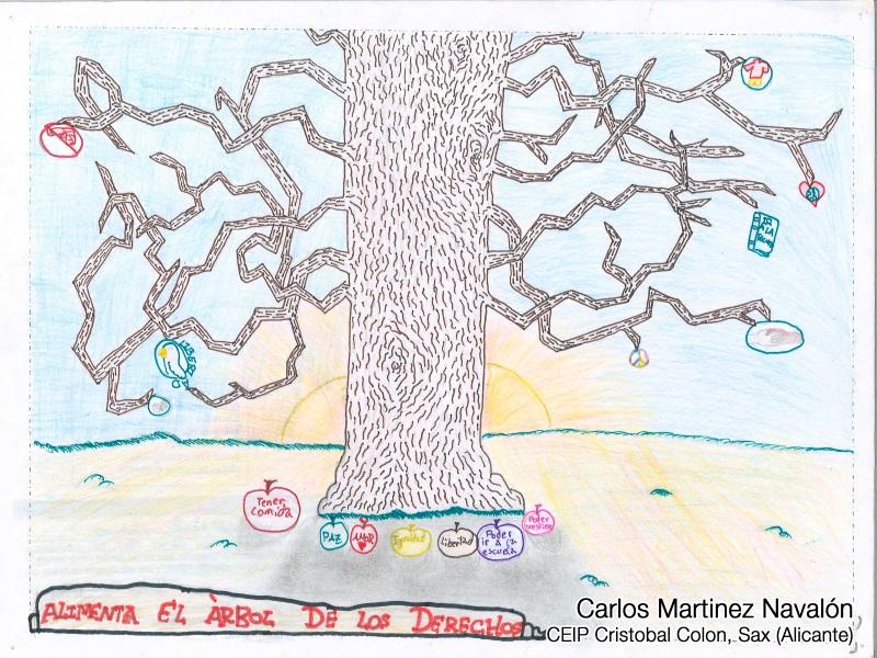 Dibujo de un árbol de la vida en el que los derechos son los frutos que se han caído del árbol y el lema: Alimenta el árbol de la vida. Autor: Carlos Martínez Navalón. CEIP Cristbal Colón. Sax (Alicante)