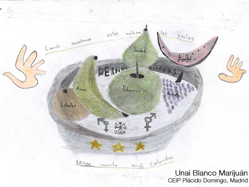 Dibujo de un frutero y en las frutas se lee: Libertad, amor, educación, sanidad, igualdad y respeto. Autor: Unai Blanco. CEIP Plácido Domingo, Madrid