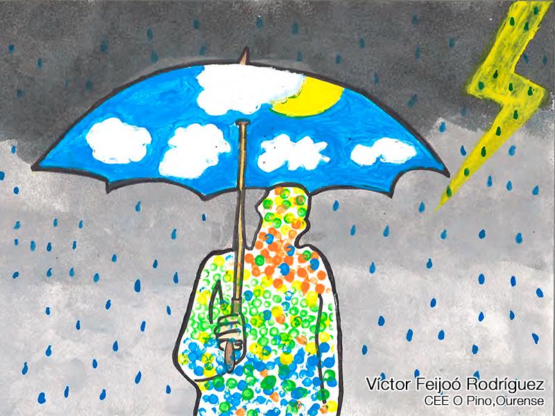 Dibujo de una silueta de un hombre cubierto bajo un paraguas en una tormenta con relámpagos. Autor: Víctor Feijóo Rodríguez del CEE Pino, Ourense