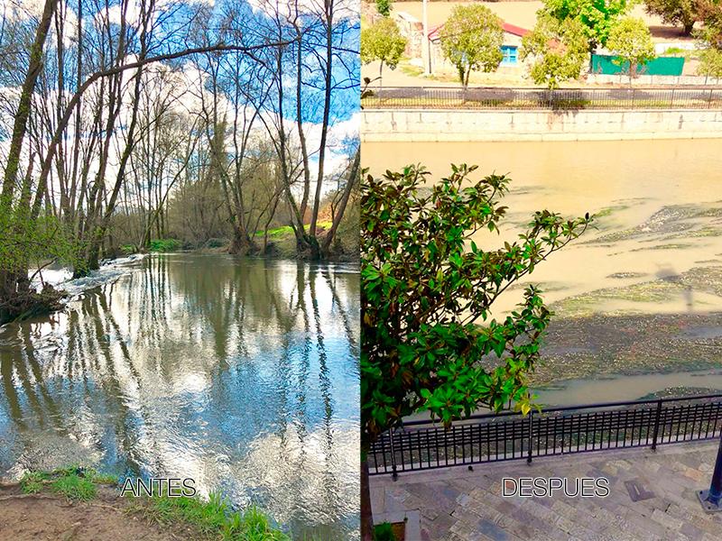 Fotos del río Támega antes y después del vertido