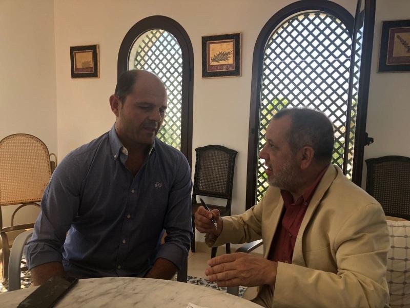 Reunión del Defensor del Pueblo (e.f.), Francisco Fernández Marugán, con el alcalde de Montalbán de Córdoba