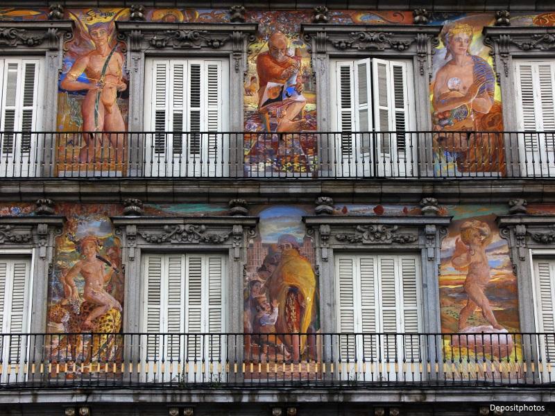 Fachada de casas de la Plaza Mayor de Madrid