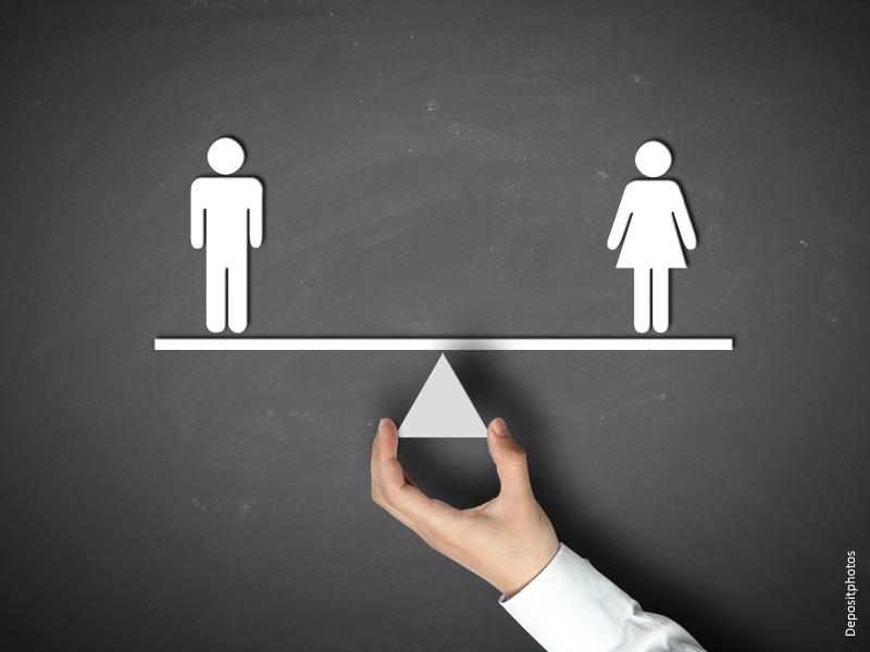 Imagen de un hombre y una mujer sobre línea horizontal