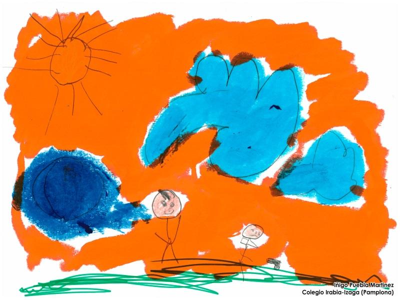 Dibujo de Iñigo Puebla Sánchez: dos niños jugando bajo el sol
