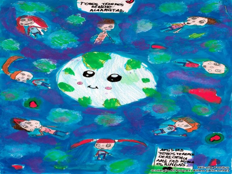 Dibujo de Nicole Pantus: un mundo rodeado de niños diferentes con el siguiente texto: