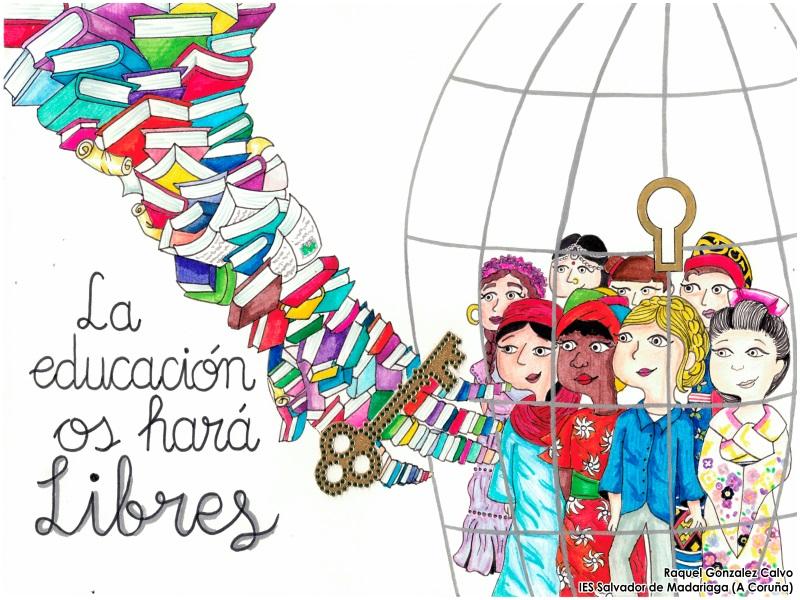 Dibujo de Raquel Gonzalez Calvo: Mujeres de diferentes culturas encerradas en una jaula. Una llave rodeada de libros las libera. El dibujo tiene el siguiente texto: