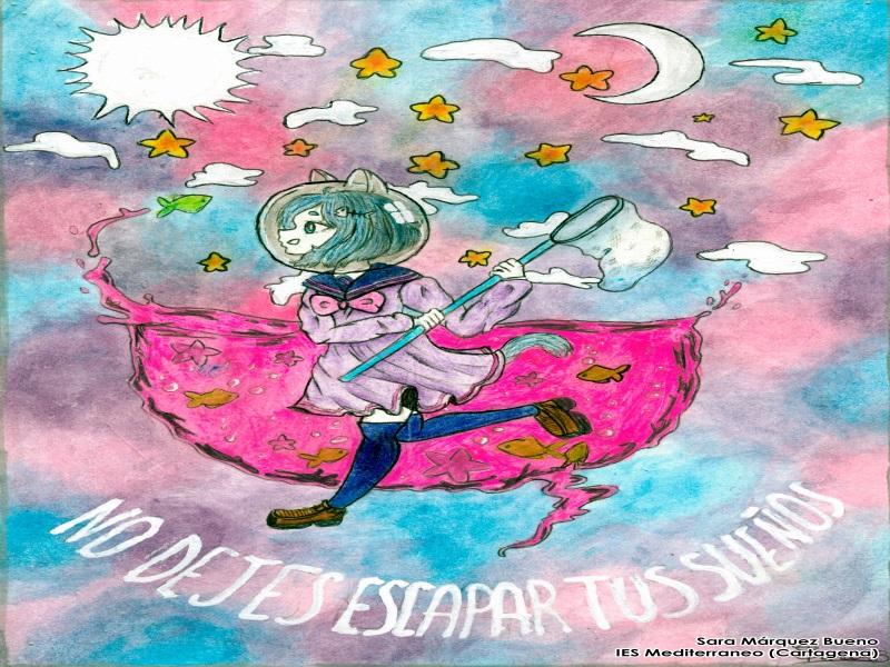 Dibujo de Sara Marquez Bueno: una chica - gata camina entre agua y estrellas con un atrapamariposas. El texto del dibujo: