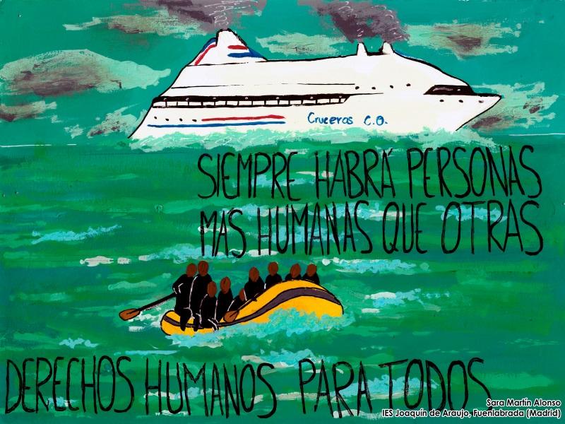 Dibujo de Sara Martin Alonso: Un crucero en el mar con una patera de inmigrantes florando en primer término. El dibujo tiene el siguiente texto: