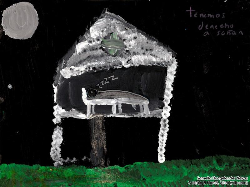 Dibujo de Shamella Hoogelander Navas: Una casa en medio de la noche con una persona durmiendo, el texto del dibujo: