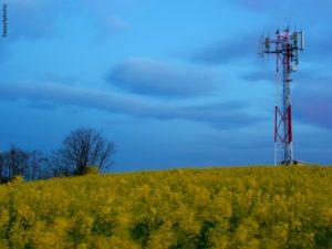 Antena de telecomunicaciones en el campo