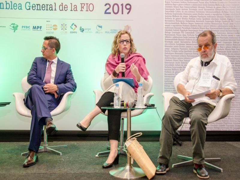 El Defensor del Pueblo (e.f.), Francisco Fernández Marugán, en la Asamblea General de la FIO 2019.