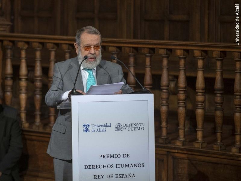 El Defensor del Pueblo (e.f.) Francisco Fernández Marugán, durante su discurso en la VIII entrega del Premio de Derechos Humanos